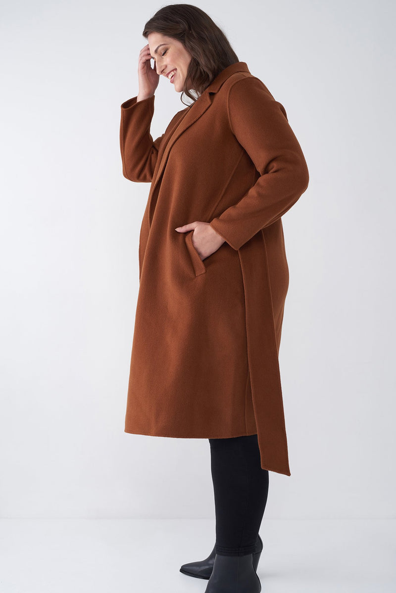 JOIE TOBACCO - WOOL TIE FRONT COAT