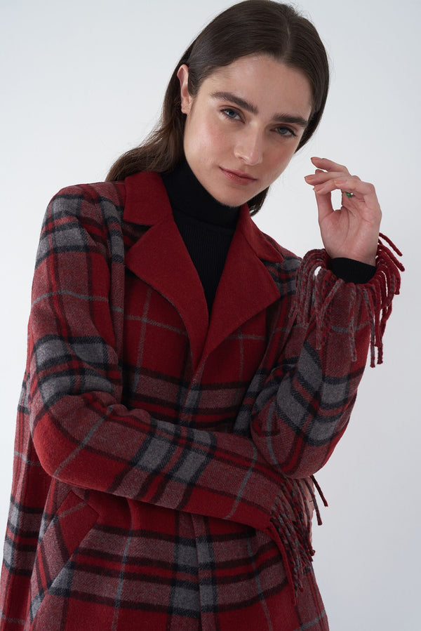 JASMIN RED - FRINGED PLAID COAT