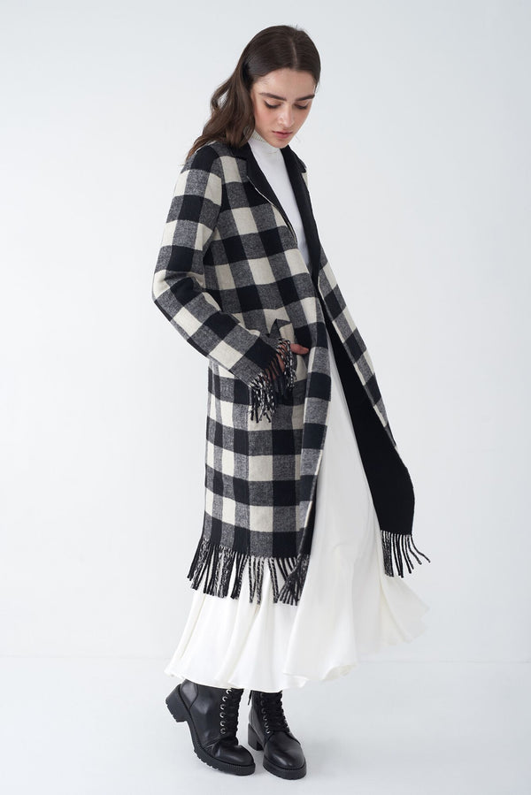 JASMIN BLACK - FRINGED PLAID COAT