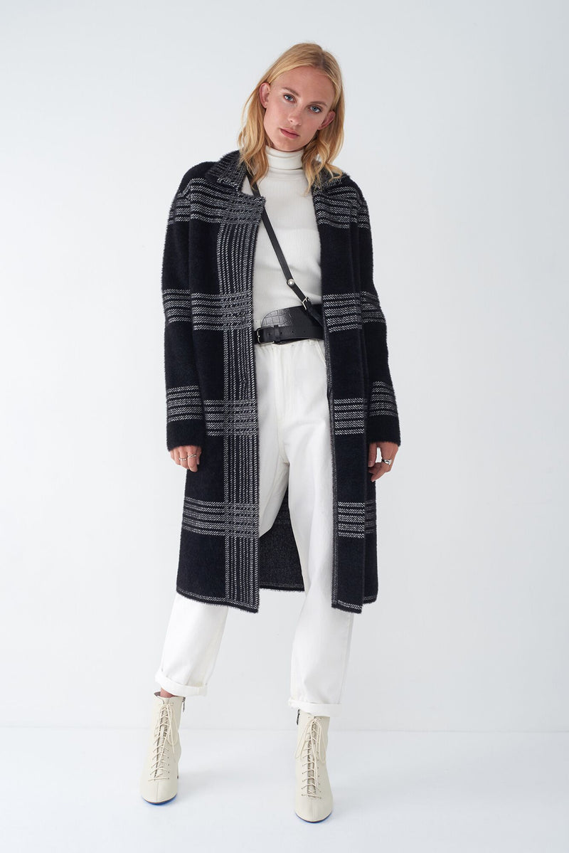 JULIANA - JACQUARD KNIT PLAID DUSTER