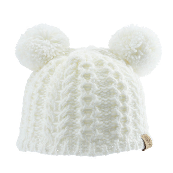 Knitted Beanie with Poms - aroundthecrib