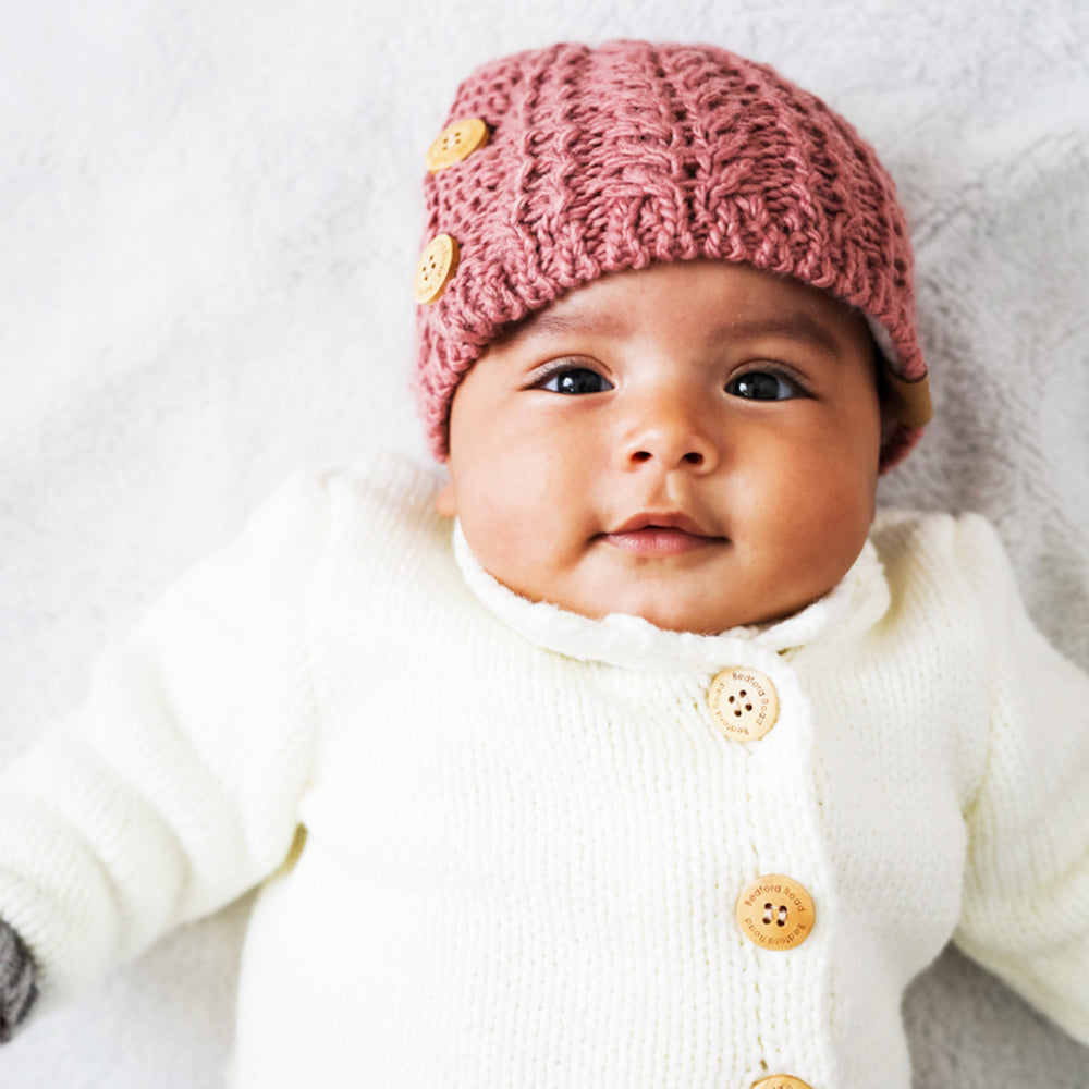 Knitted Beanie Side Buttons - aroundthecrib