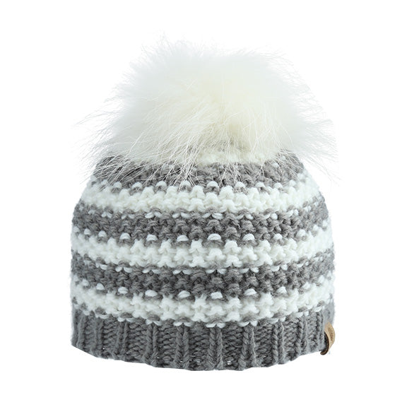 Knitted Beanie Stripe with Fur Pom - aroundthecrib