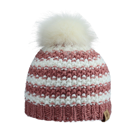 a59ab6780bf Knitted Beanie Stripe with Fur Pom – Around the Crib