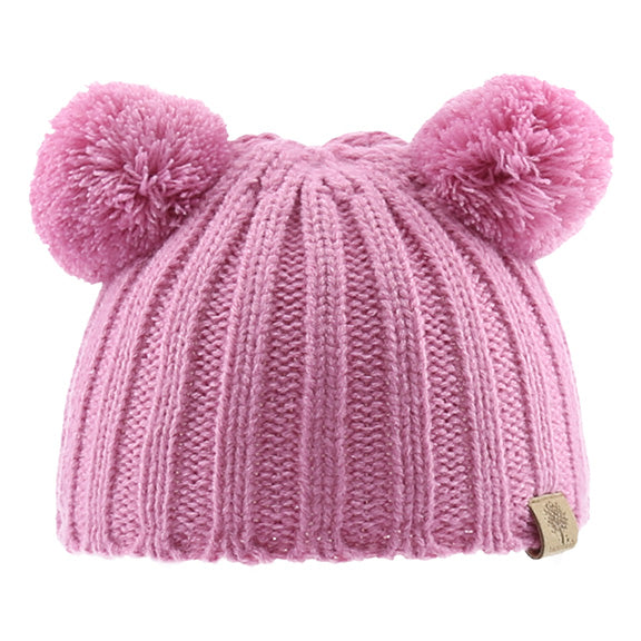 Knitted Beanie with Poms