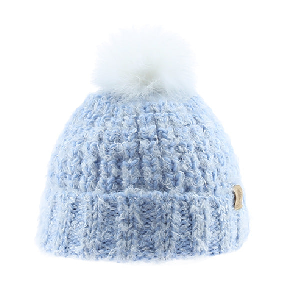 Knitted Beanie with White Fur Pom