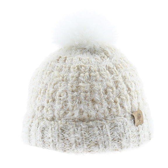 Knitted Beanie with White Fur Pom - aroundthecrib