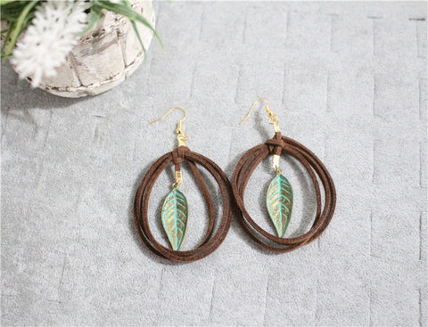 Leather Twisted Leaf Drops