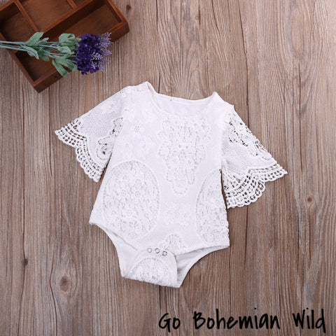 White Lace Boho Baby Romper Jumpsuit