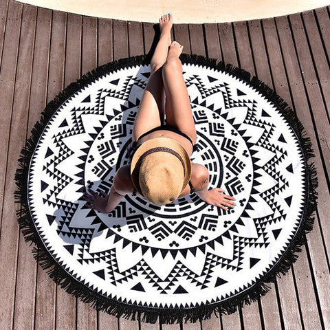 Round Hippie Tapestry Beach Throw Black & White Mandala