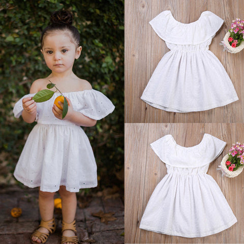 White Summer Boho Child Ruffle Dress