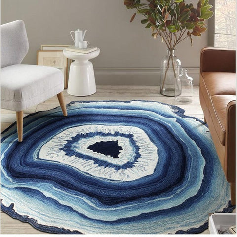 Blue Agate Aged Rock Geode Slice Design Carpet Area Rug
