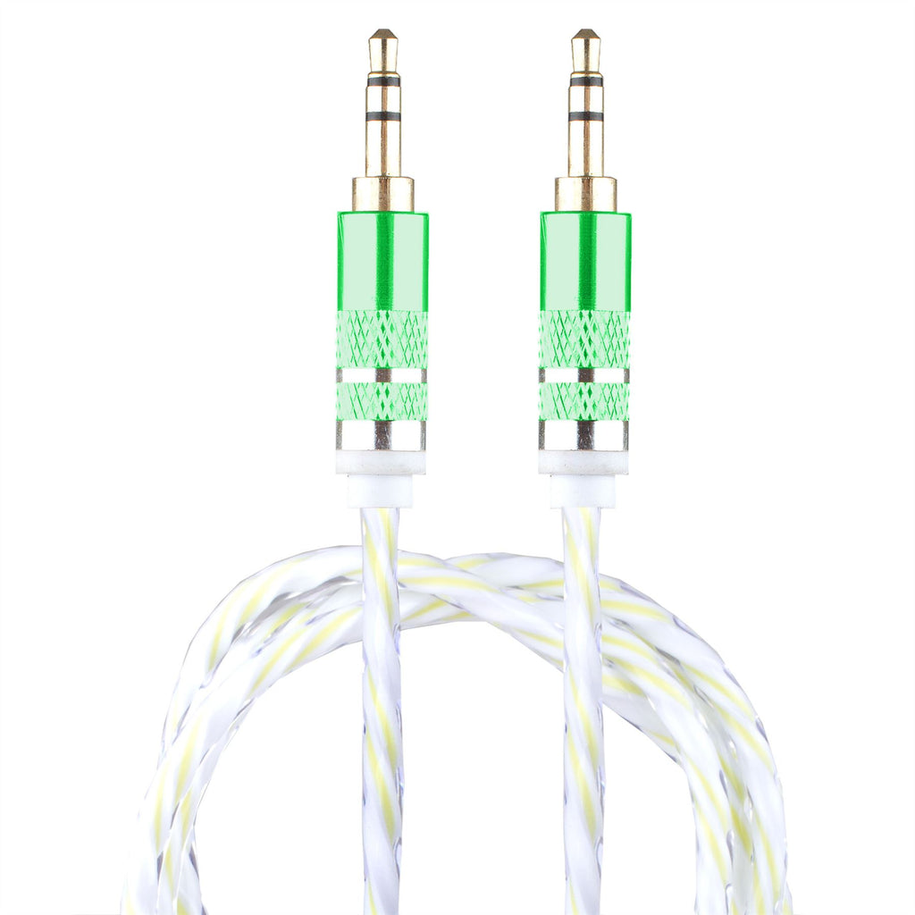 Lilware Braided Woven Fabric Transparent PVC Jacket 0.9M Aux Audio Cable 3.5mm Jack Male to Male Cord For Multimedia Devices - Green