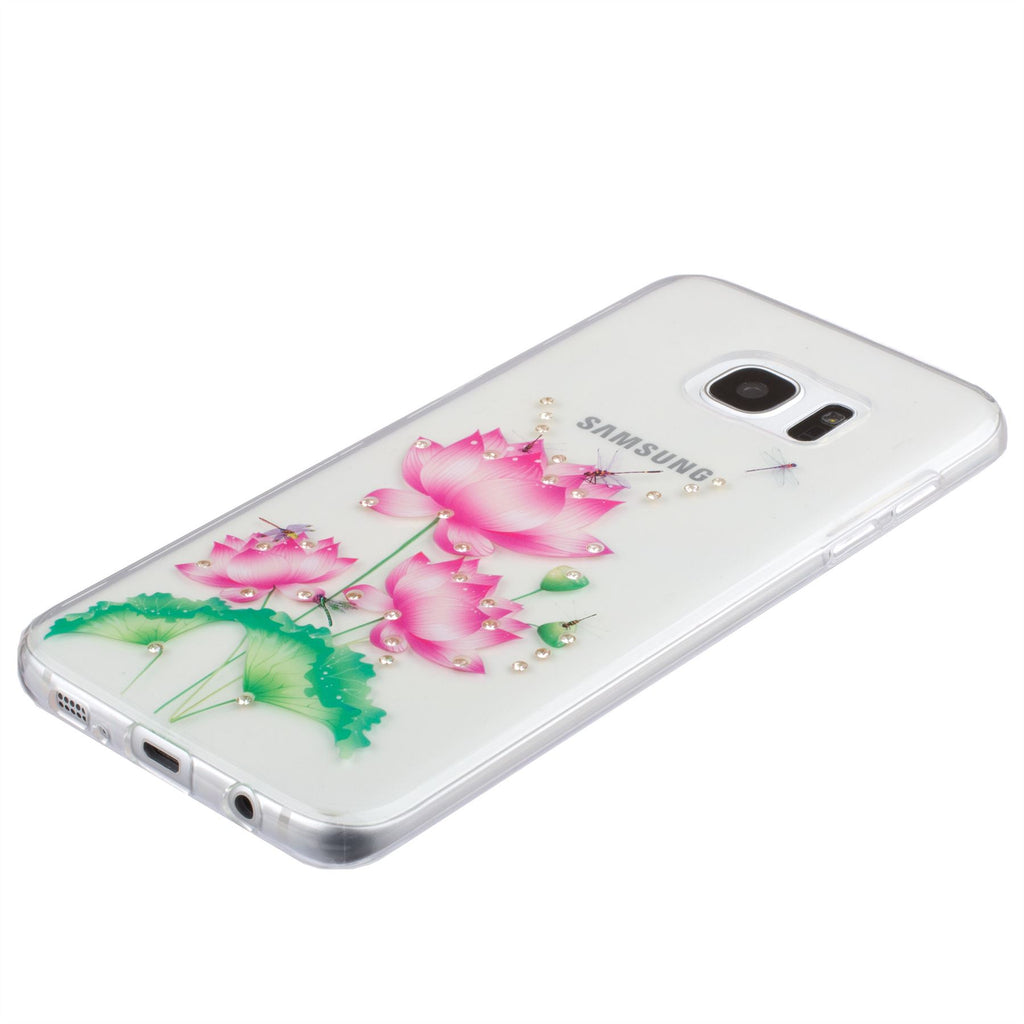 Xcessor Flower With Dragonfly Glossy Flexible TPU case for Samsung Galaxy S7 Edge SM-G935. Transparent / Multicolored