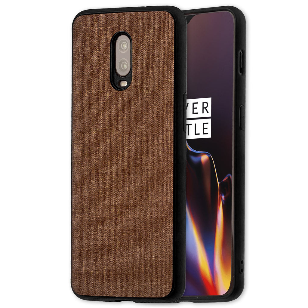 Lilware Canvas Rubberized Texture Plastic Phone Case for OnePlus 6T. Brown