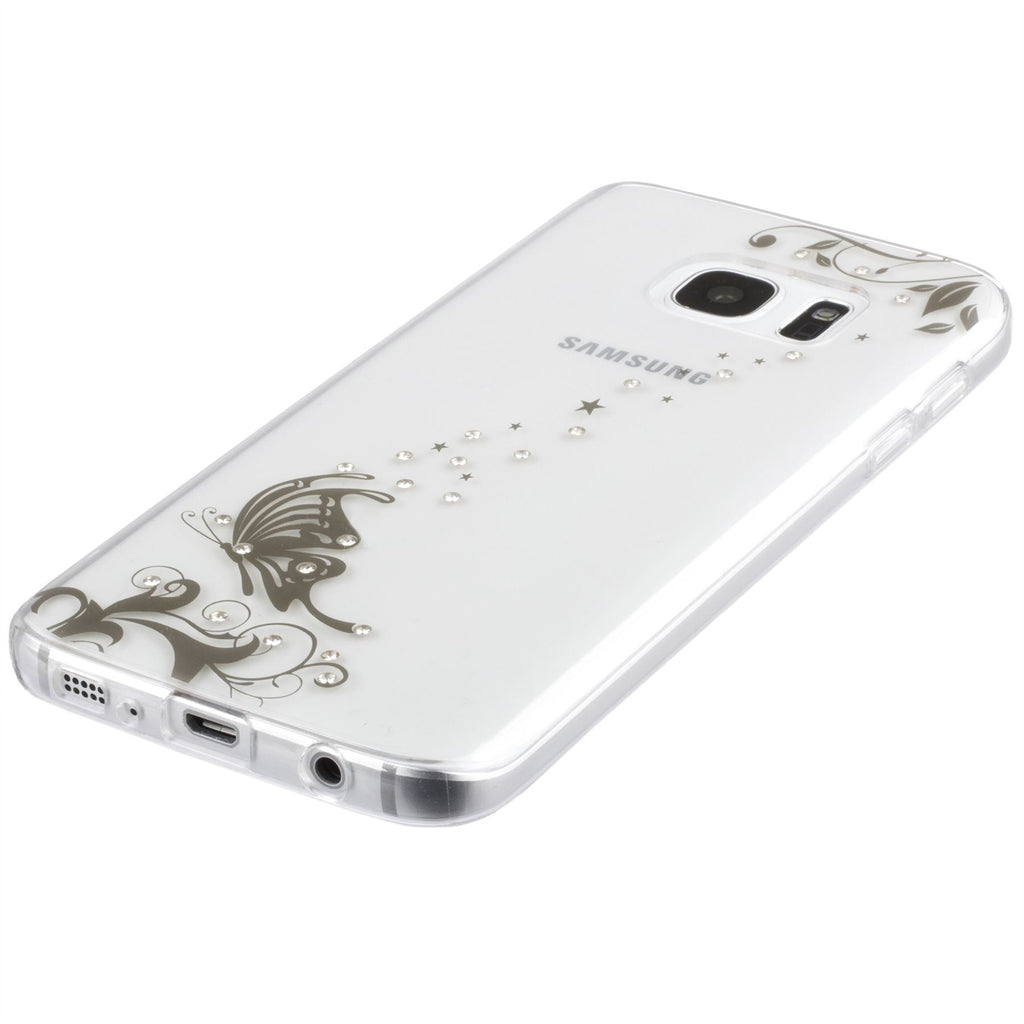 Xcessor Golden Butterfly Glossy Flexible TPU case for Samsung Galaxy S7 SM-G930. Transparent / Golden Color