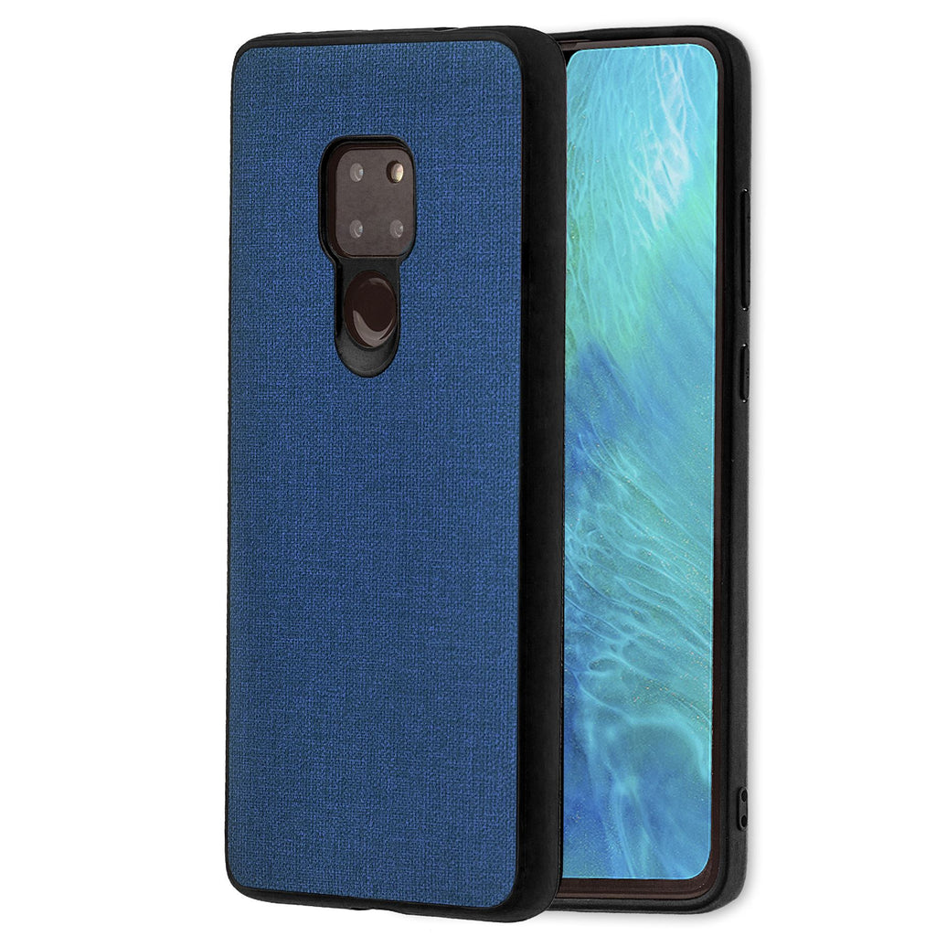 Lilware Canvas Rubberized Texture Plastic Phone Case Compatible with Huawei Mate 20. Dark Blue