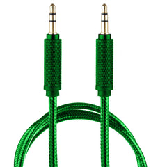 Lilware Braided Nylon Transparent PVC Jacket 1M Aux Audio Cable 3.5mm Jack Male to Male Cord For Multimedia Devices - Green