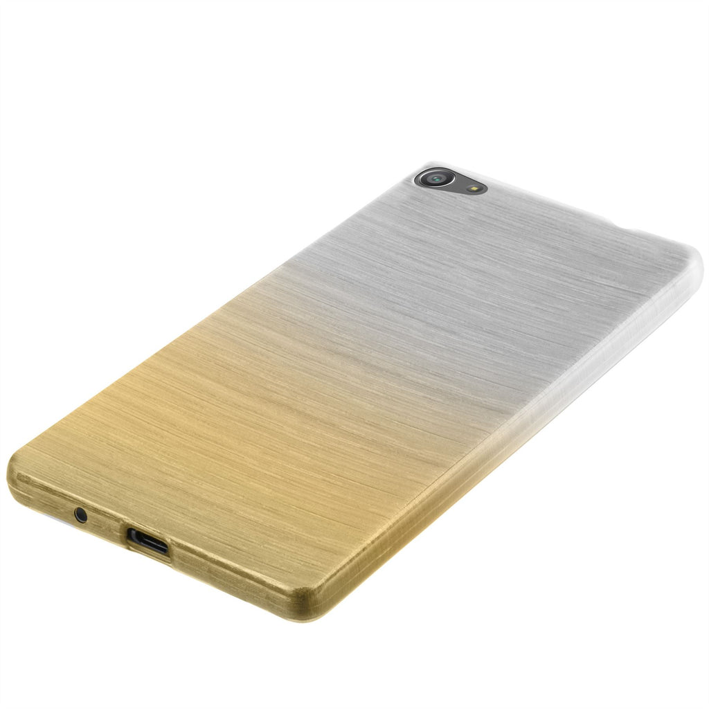 Xcessor Transition Color Flexible TPU Case for Sony Xperia Z5 Compact. With Gradient Silk Thread Texture. Transparent / Gold