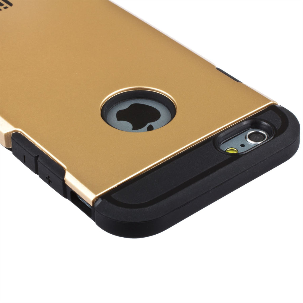 Lilware Angular Armor Hard Plastic Rugged Case Dual Layer Cover for Apple iPhone 6  6S. Gold / Black