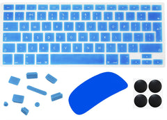 "4 in 1 Lilware Accessory Kit for Apple MacBook Pro 13"". Set of Waterproof UK / EU International Keyboard Cover + Magic Mouse Softskin Protector + Anti Dust Plugs + 4 Pack Replacement Rubber Feet. Blue"