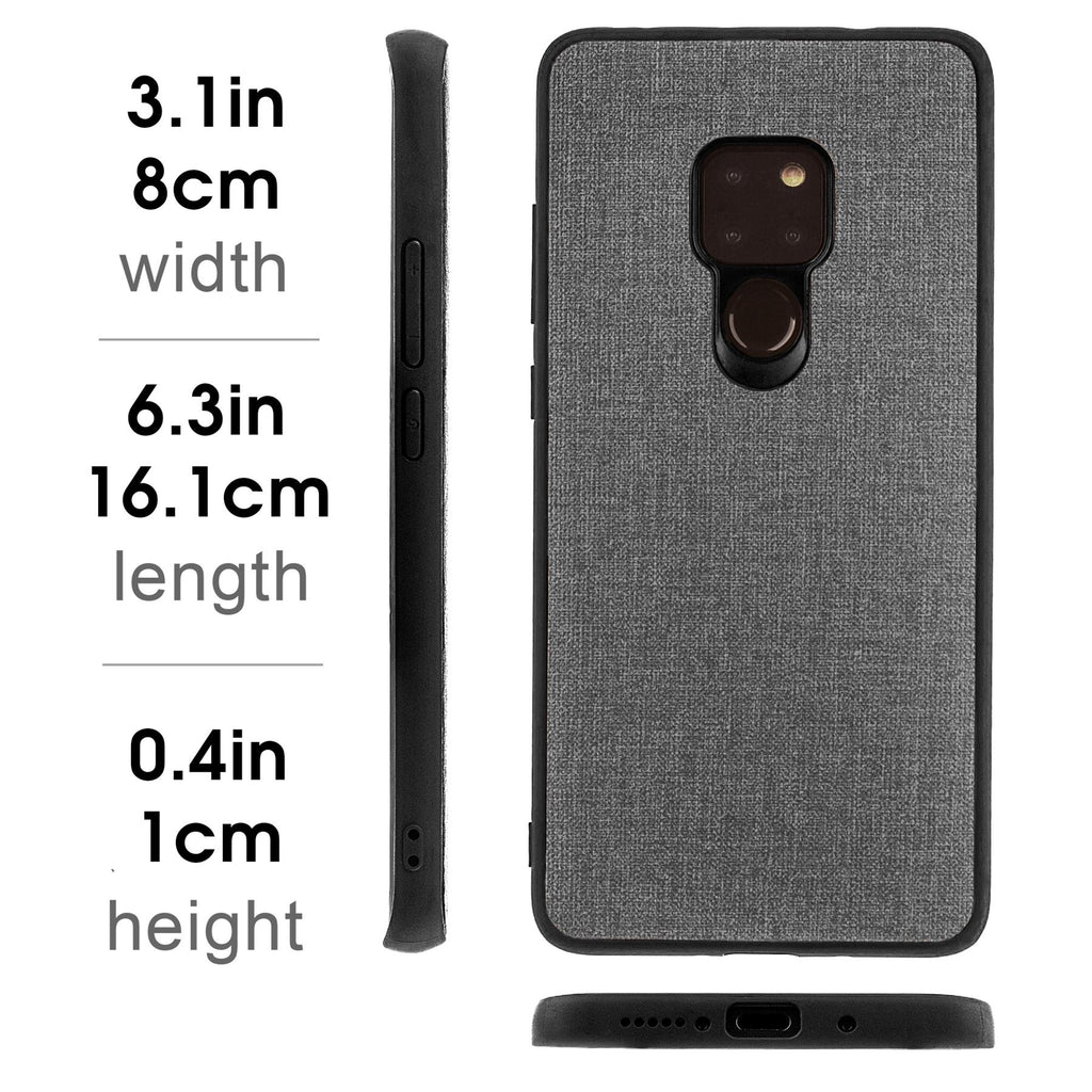 Lilware Canvas Rubberized Texture Plastic Phone Case Compatible with Huawei Mate 20. Grey