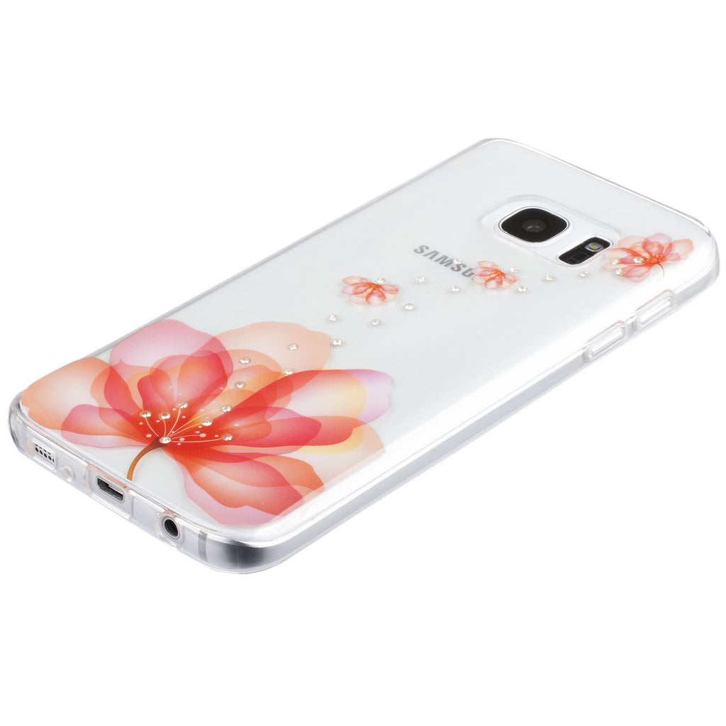 Xcessor Orange Flower Glossy Flexible TPU case for Samsung Galaxy S7 SM-G930. Transparent / Orange