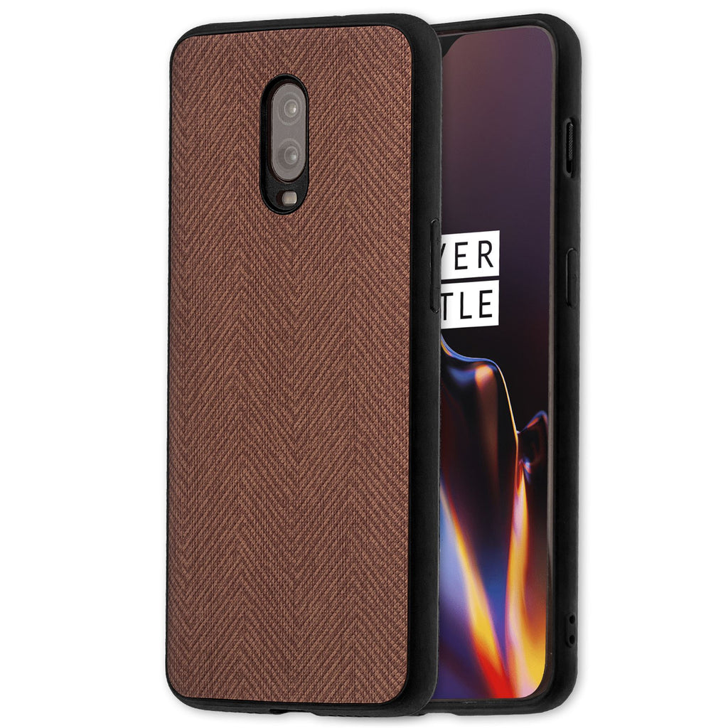 Lilware Canvas Z Rubberized Texture Plastic Phone Case for OnePlus 6T. Brown