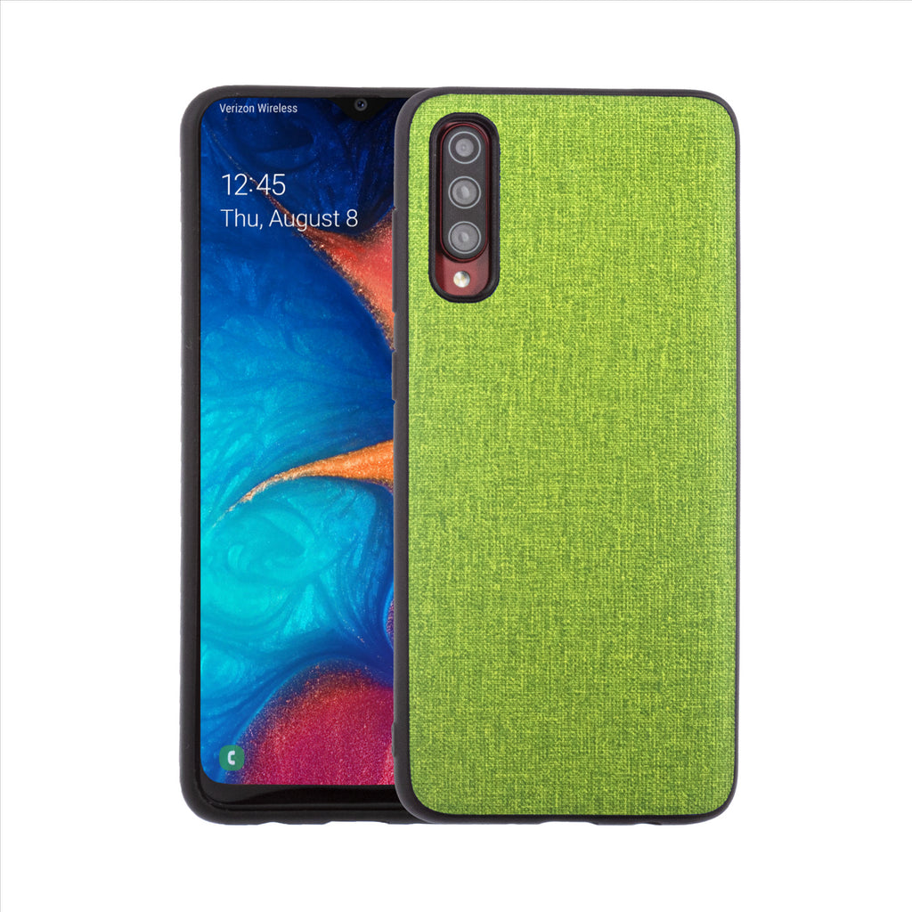 Lilware Canvas Rubberized Texture Plastic Phone Case for Samsung Galaxy A70/A70S. Green