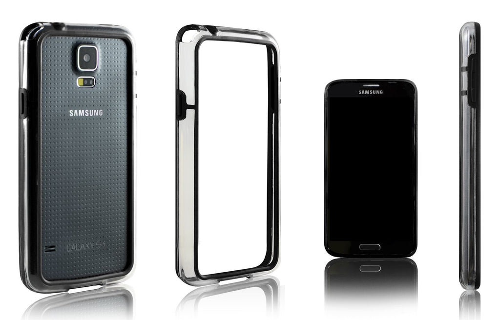 Xcessor Classic Bumper Case for Samsung Galaxy S5 i9600. (Compatible with All Samsung Galaxy S5 Models). Rubber & Plastic. Black/Transparent