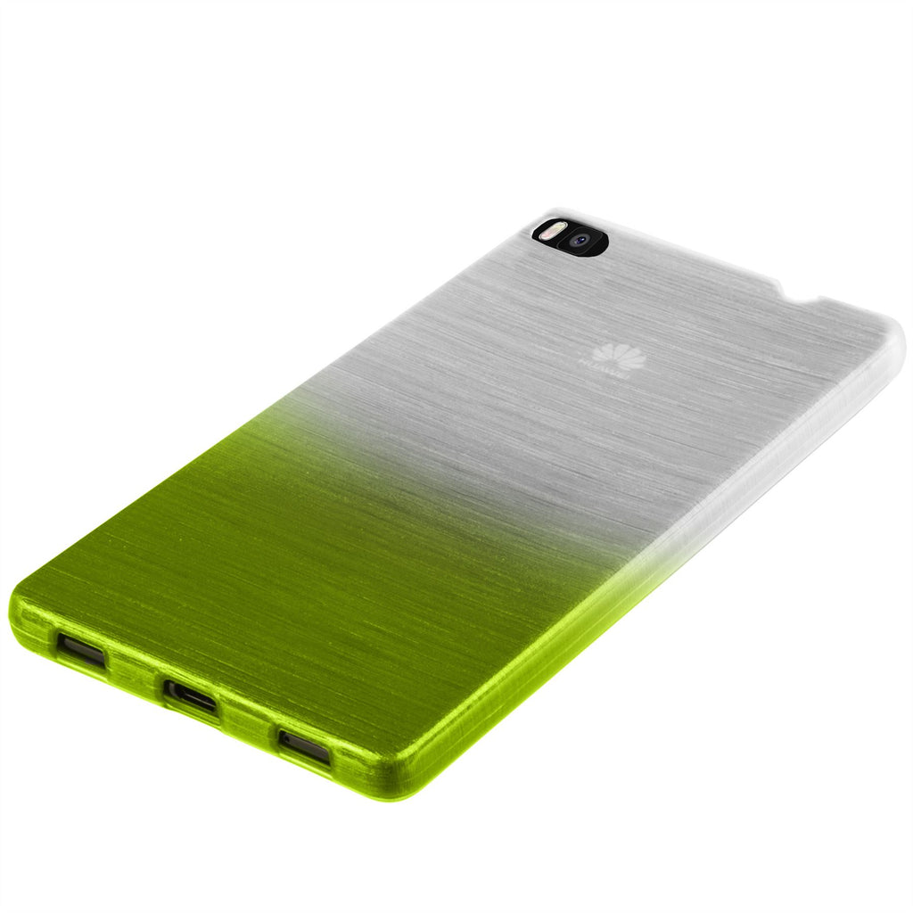 Xcessor Transition Color Flexible TPU Case for Huawei Ascend P8. With Gradient Silk Thread Texture. Transparent / Green