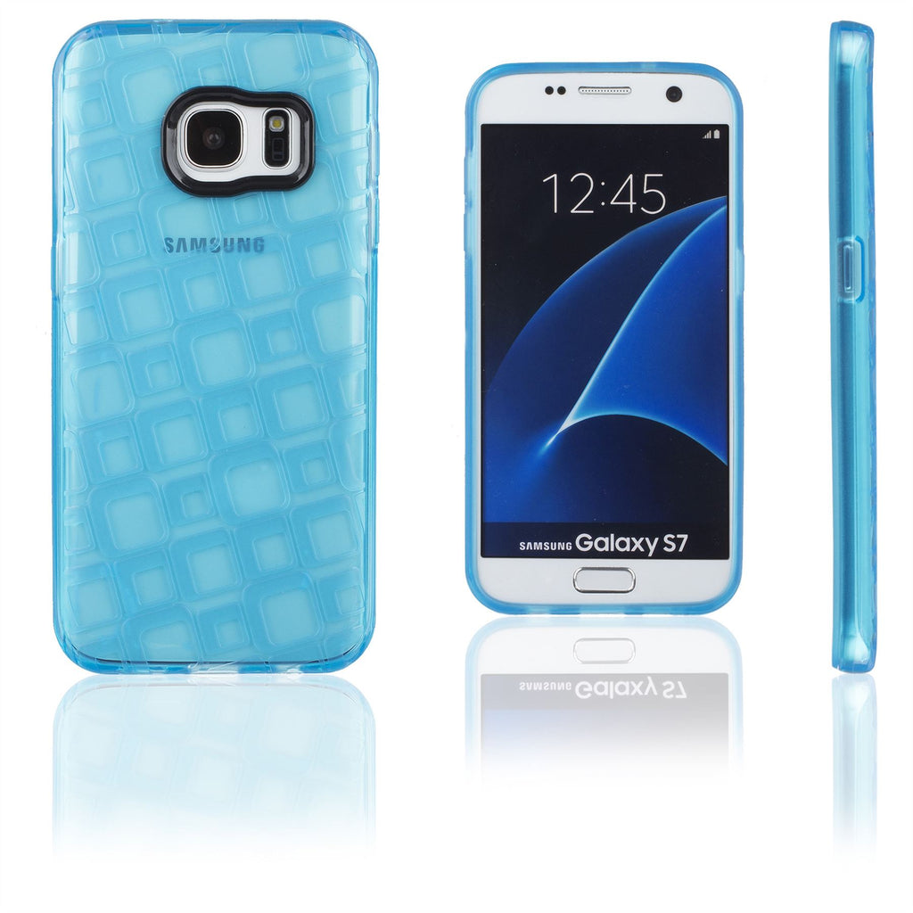 Xcessor Tetragon Bubbles Glossy Flexible TPU case for Samsung Galaxy S7 SM-G930. Transparent / Blue