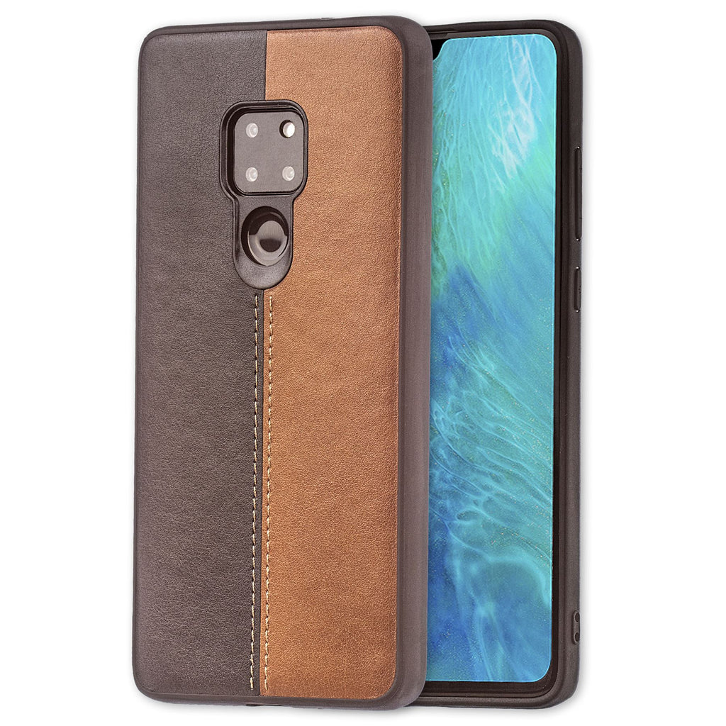 Lilware Bicolor PU Leather Phone Case Compatible with Huawei Mate 20. Brown / Black