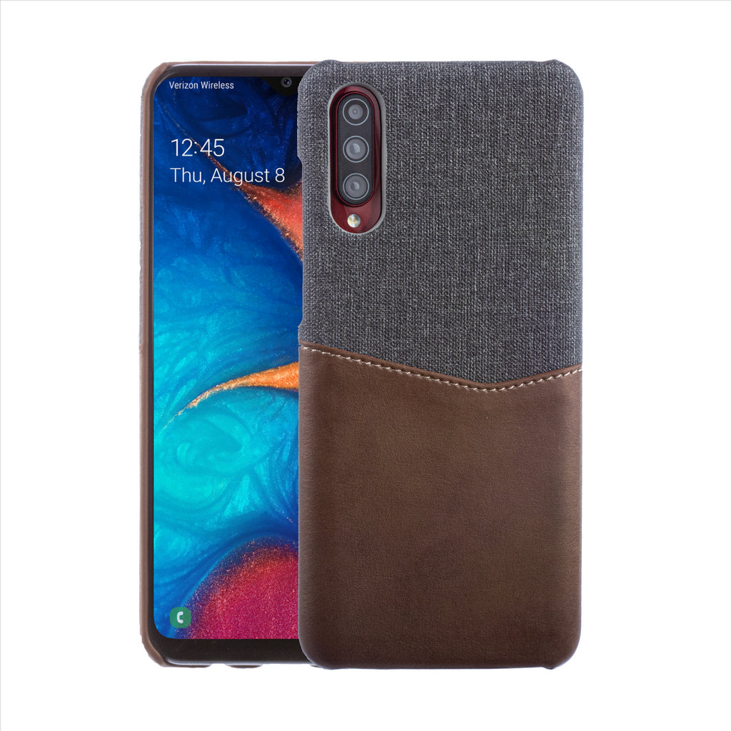 Lilware Card Wallet Plastic Phone Case Compatible with Samsung Galaxy A70/A70S. Fabric Texture and PU Leather Protective Cover with ID / Credit Card Slot Holder. Brown