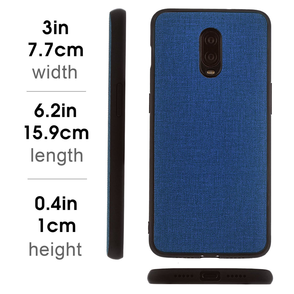 Lilware Canvas Rubberized Texture Plastic Phone Case for OnePlus 6T. Dark Blue