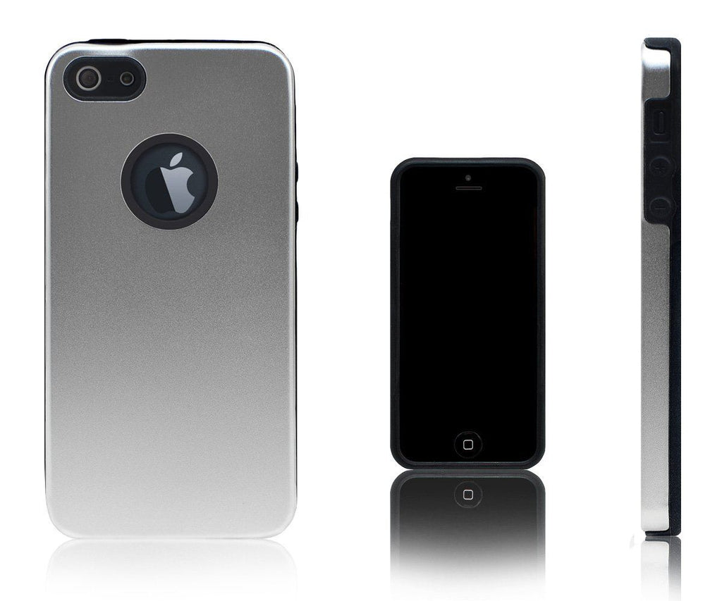 Xcessor Force Field - Metallic Hard Case for Apple iPhone 5 and 5S. Metal and Silicone. Silver Color