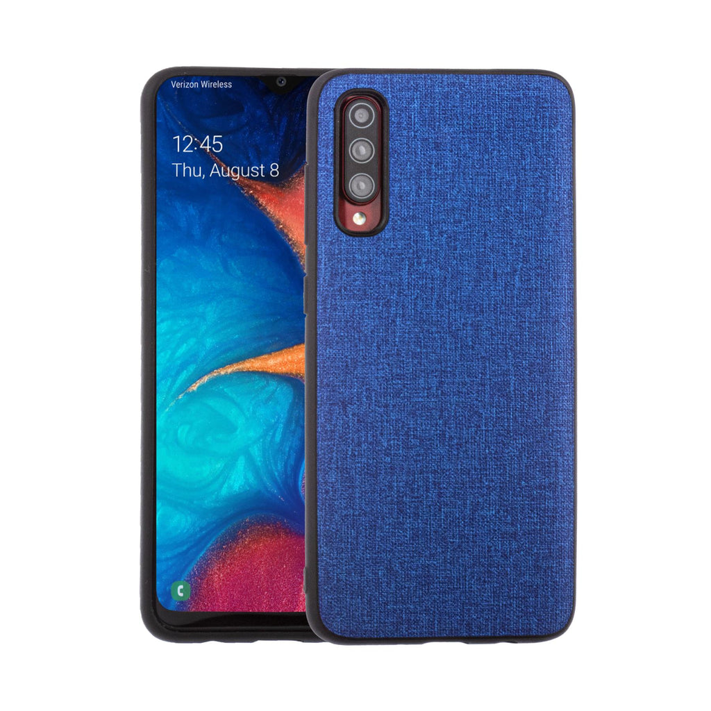 Lilware Canvas Rubberized Texture Plastic Phone Case for Samsung Galaxy A70/A70S. Blue
