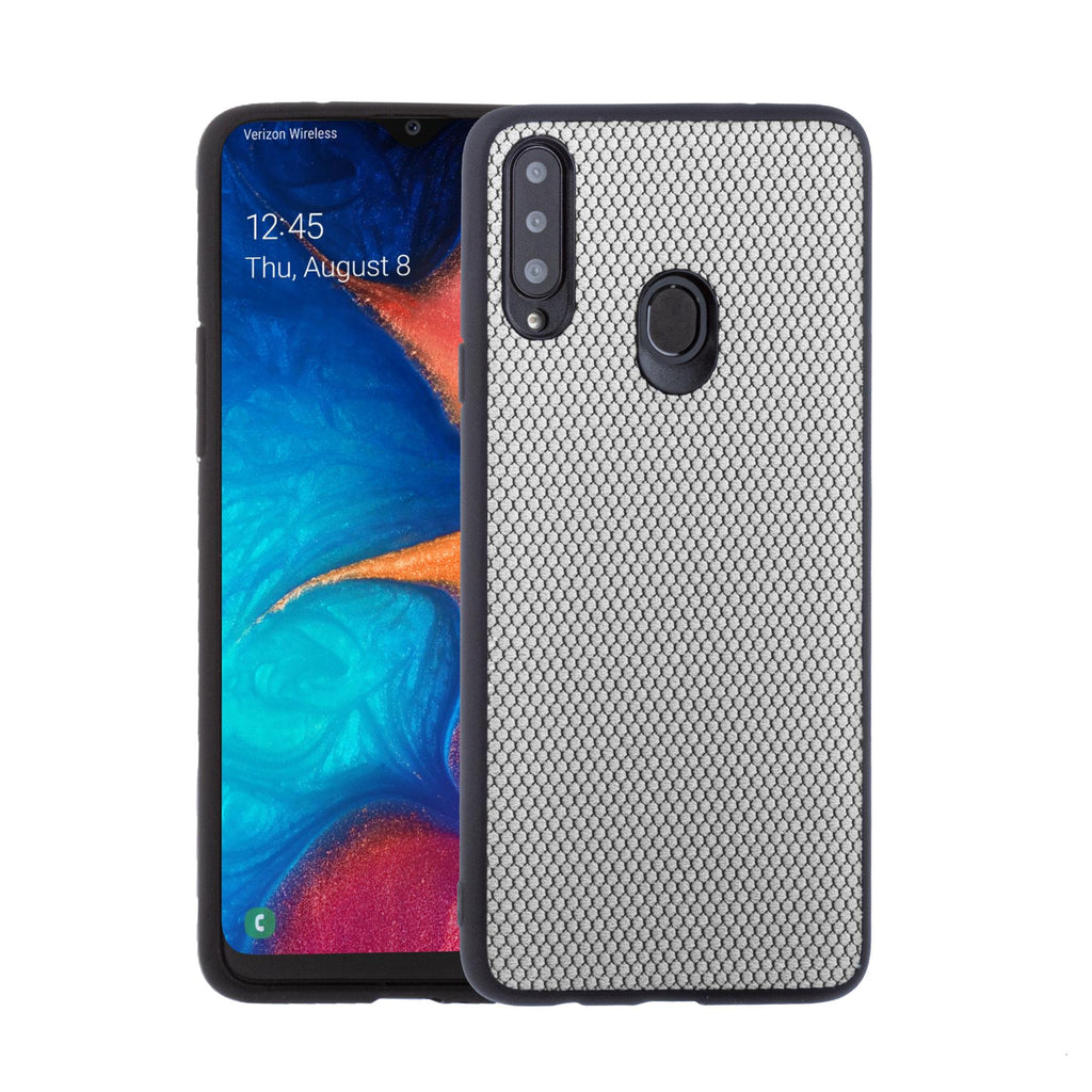 Lilware Canvas X Fabric Texture Plastic Phone Case for Samsung Galaxy A20S. Light Grey