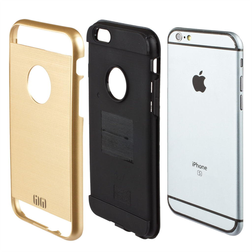 Lilware Armor Slim Fit Hard Plastic Rugged Case Dual Layer Cover for Apple iPhone 6  6S. Gold / Black