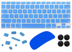"4 in 1 Lilware Universal Accessory Set for Apple Macbook Pro 13"". Set of Waterproof USA Keyboard Cover + Magic Mouse Softskin Protector + Anti Dust Plugs + 4 Pack Replacement Rubber Feet. Blue"