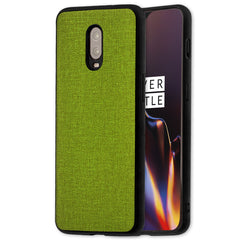 Lilware Canvas Rubberized Texture Plastic Phone Case for OnePlus 6T. Green