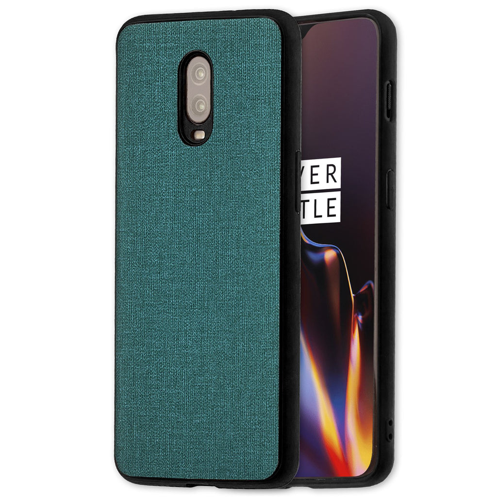 Lilware Canvas Rubberized Texture Plastic Phone Case for OnePlus 6T. Greenish Blue