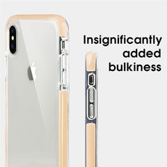 Xcessor Clear Hybrid TPU Phone Case for Apple iPhone XS Max. With Shock Absorbing Inner Rubber Layer on the Edges. Clear / Pastel Peach