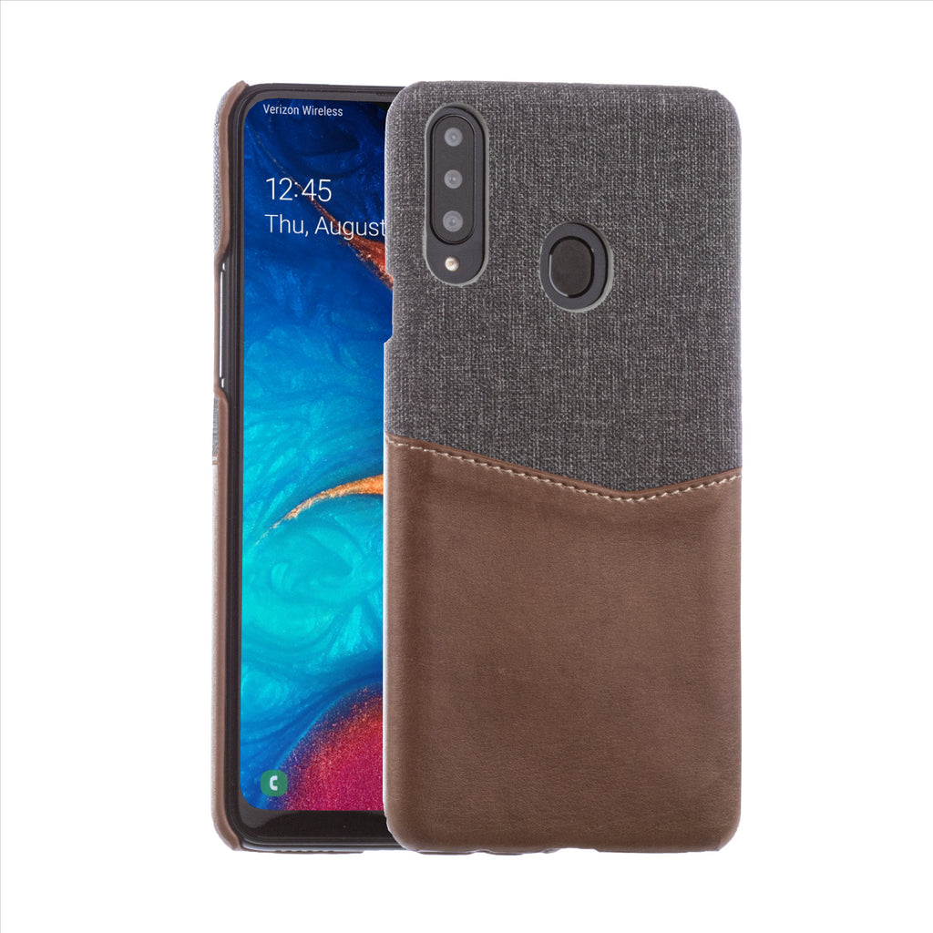 Lilware Card Wallet Plastic Phone Case Compatible with Samsung Galaxy A20S. Fabric Texture and PU Leather Protective Cover with ID / Credit Card Slot Holder. Brown
