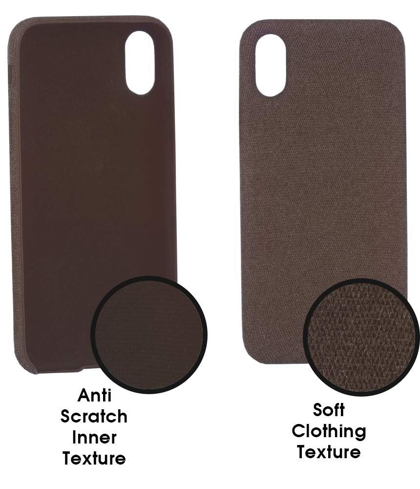 Lilware Soft Fabric Texture Plastic Phone Case for Apple iPhone XR - Brown