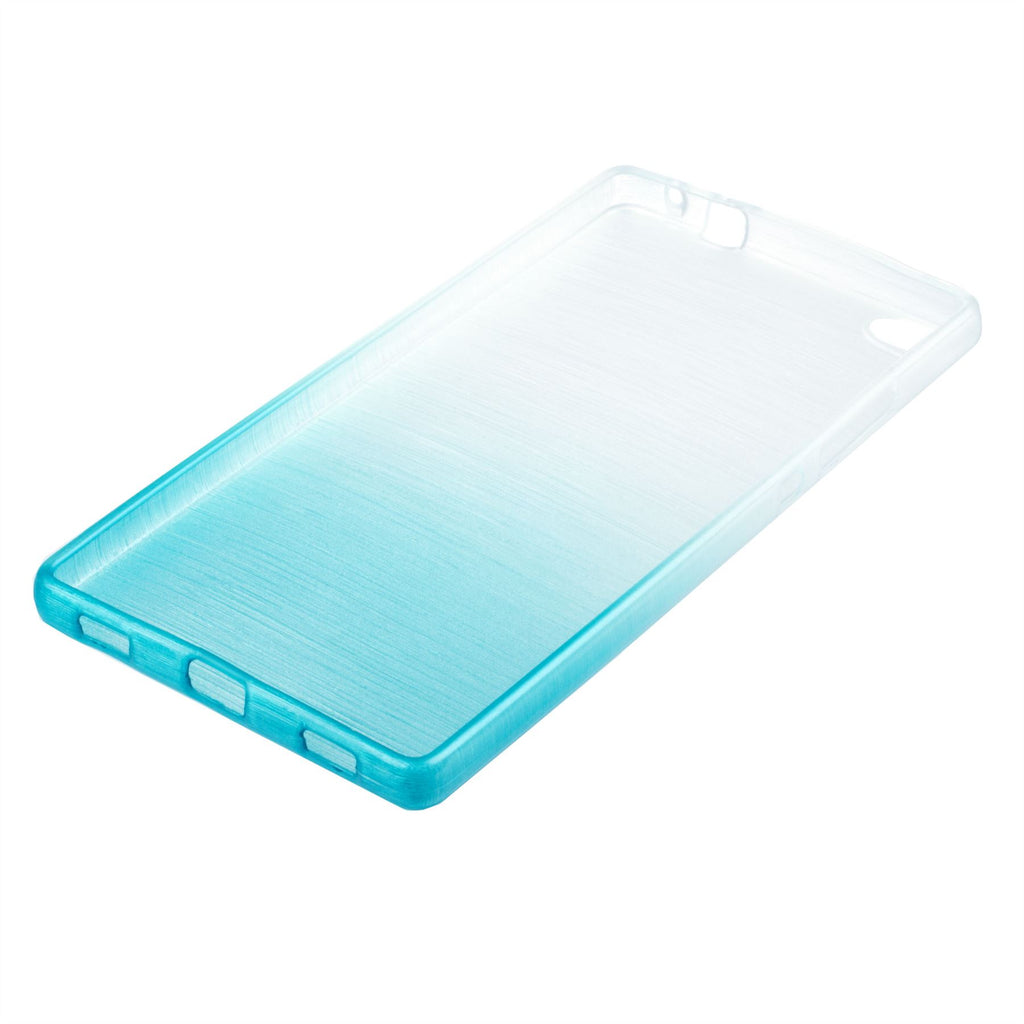 Xcessor Transition Color Flexible TPU Case for Huawei P8. With Gradient Silk Thread Texture. Transparent / Light Blue