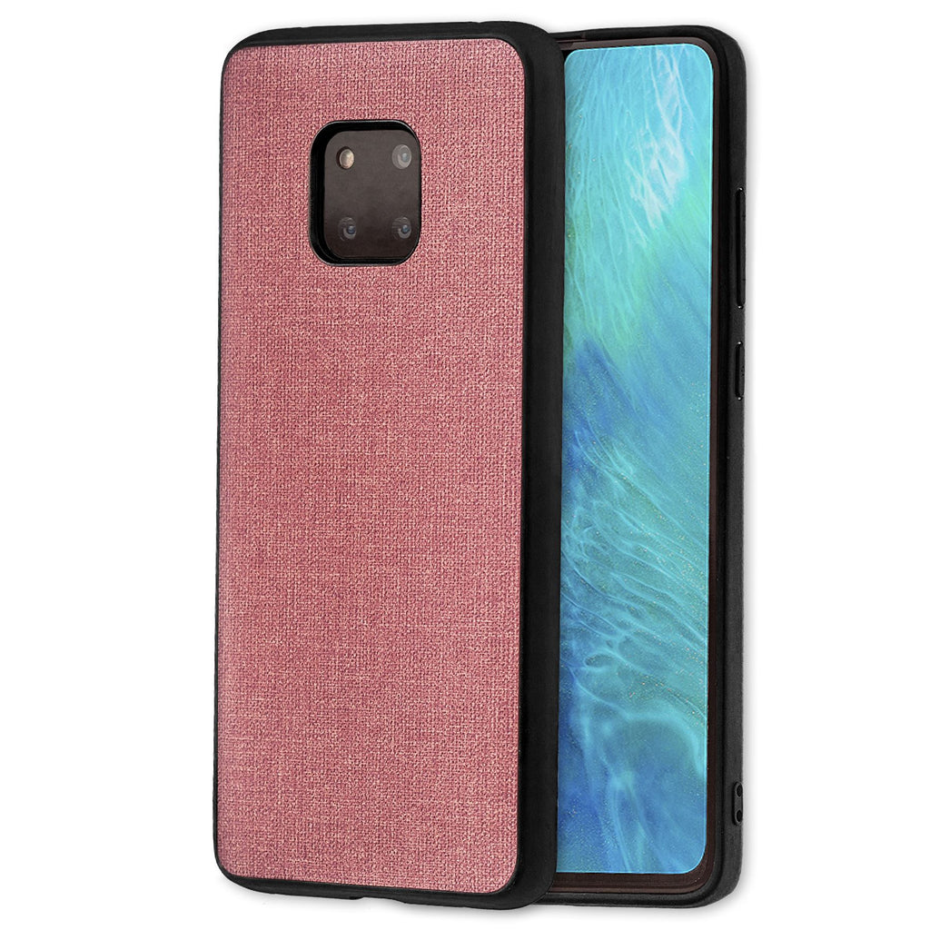 Lilware Canvas Rubberized Texture Plastic Phone Case Compatible with Huawei Mate 20 Pro. Pink