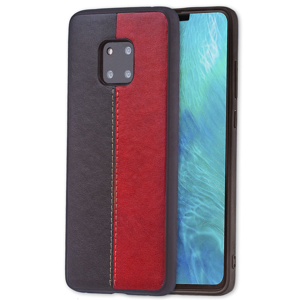 Lilware Bicolor PU Leather Phone Case Compatible with Huawei Mate 20 Pro. Red / Black