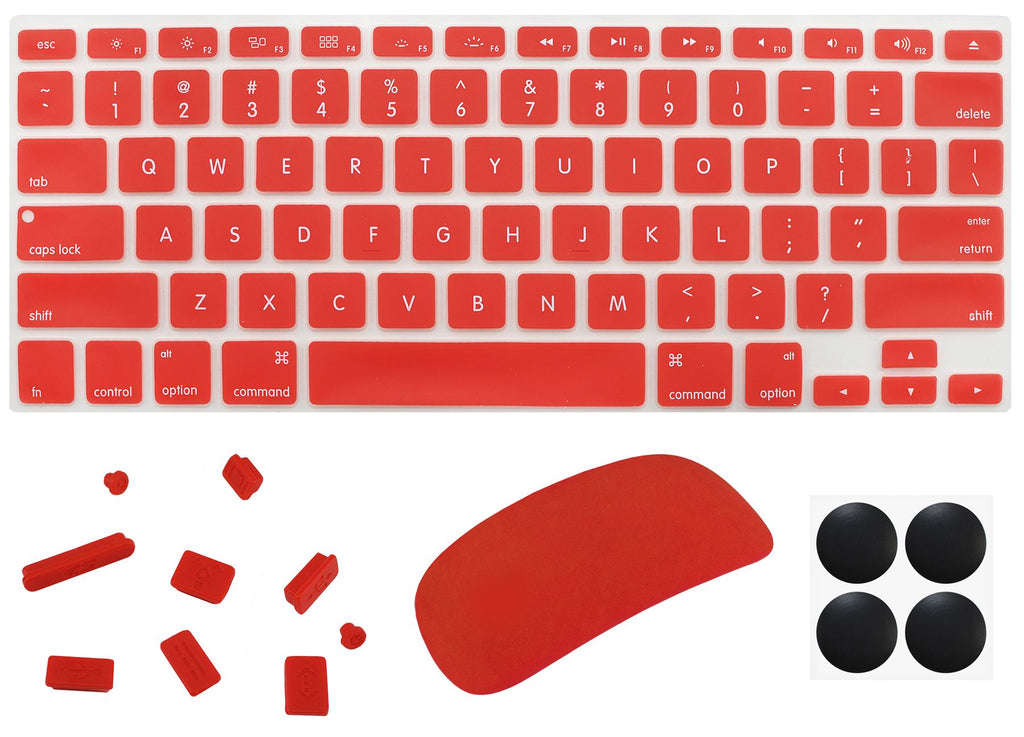 "4 in 1 Lilware Universal Accessory Set for Apple Macbook Pro 13"". Set of Waterproof USA Keyboard Cover + Magic Mouse Softskin Protector + Anti Dust Plugs + 4 Pack Replacement Rubber Feet. Red"