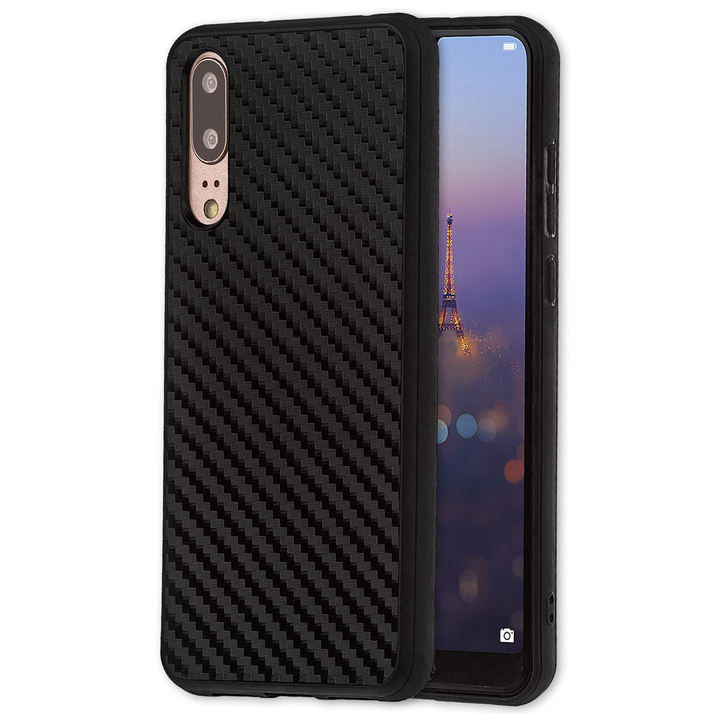 Lilware Carbon Texture Plastic Phone Case Compatible with Huawei P20. Black